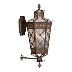Fine Art Lamps - Chateau Outdoor Outdoor Wall Mount, 403481ST - Mount a beacon of welcome to your home's exterior with this lantern inspired by ages past. Solid brass with a rich umber patina is crafted around antiqued glass for a strong yet warm effect.