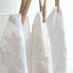 Suzanne Tucker Home - Textiles - Summer whites. From left: Chloe, Casablanca and Arabesque. All textiles by Suzanne Tucker Home.