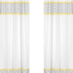 Sweet Jojo Designs - Zig Zag Yellow and Gray Window Panel - Set of 2 by Sweet Jojo Designs - The Zig Zag yellow and gray window panel - Set of 2 by sweet jojo designs, along with the bedding accessories.