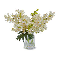 New Growth Designs - Cymbidium Orchid Arrangement, White - This robust glass bucket vase holds realistic white Cymbidium orchid sprays in clear acrylic. Your eyes will be drawn to this romantic arrangement over and over.