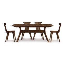 """Copeland Furniture - Copeland Furniture Audrey 42"""" x 72"""" Extension Table with Easystow Extension and - Extension tables incorporate self equalizing, ball bearing extension glides and a single 24"""" self storing butterfly leaf for single handed operation. The Audrey dining room is crafted in solid American black walnut or solid cherry."""