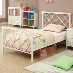 Coaster - Juliette Twin Bed, Sandy Yellow/Pink - This elegant youth metal bedroom collection will add a touch of sophisticated style and feminine appeal to the youth bedroom in your home. Slick pink metal construction, sinuous shapes, and whimsical heart designs create the ideal look for your child. Other casegood pieces feature a simple, angelic, white finish with clean and crisp box lines. Pink heart shaped knobs add the perfect touch of cuteness ideal for any girl's dream bedroom. Choose from 2 different bedroom styles: an arched metal headboard/footboard that include a lovely pink finish and motifs of hearts or a rectangular headboard/footboard with pink/white ornament detail.