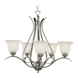 Trans Globe Lighting - Trans Globe Lighting PL-9285 BN ES Ribbon Branched 5 Light Chandelier In NickelE - Simply elegant indoor lighting collection perfect for coastal dEcor themes with seagull wing chandelier supports. Matching pendant styles. Energy saving fixture uses GU-24 bulbs.