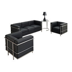 "LexMod - Charles Petite 4 Piece Sofa Set in Black - Charles Petite 4 Piece Sofa Set in Black - Urban life has always a quandary for designers. While the torrent of external stimuli surrounds, the designer is vested with the task of introducing calm to the scene. From out of the surging wave of progress, the most talented can fashion a forcefield of tranquility. Perhaps the most telling aspect of the Charles series is how it painted the future world of progress. The coming technological era, like the externalized tubular steel frame, was intended to support and assist human endeavor. While the aesthetic rationalism of the padded leather seats foretold a period that would try to make sense of this growth. The result is an iconic sofa series that became the first to develop a new plan for modern living. If previous generations were interested in leaving the countryside for the cities, today it is very much the opposite. If given the choice, the younger generations would rather live freely while firmly seated in the clamorous heart of urbanism. The Charles series is the preferred choice for reception areas, living rooms, hotels, resorts, restaurants and other lounge spaces. Set Includes: One - Eileen Gray Side Table One - Le Corbusier LC2 Sofa Two - Le Corbusier LC2 Armchairs Chair and Sofa: Genuine Leather Upholstery, Stainless Steel Frame, Multi-Density Foam Cushions, Table: Chrome Frame, Tempered Glass, Adjustable Height Overall Chair Dimensions: 27.5""L x 30""W x 26.5""H Chair Seat Dimensions: 21""L x 17.5""W x 17""H Overall Sofa Dimensions: 71""L x 26.5""W x 28""H Sofa Seat Height: 17""H Overall Table Dimensions: 24""L x 21.5""W x 21.5""H Table Top Height: 21.5 - 28.5""H Overall Product Dimensions: 98.5""L x 54""W x 28.5""H - Mid Century Modern Furniture."
