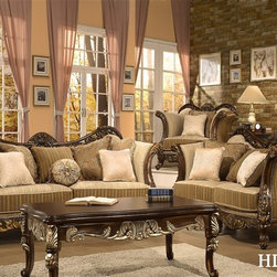 Homey Design - Trento Gold Paintbrush Sofa and Loveseat Set - 266SL - Set includes Sofa and Loveseat