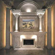 Mediterranean Indoor Fireplaces by Realm of Design