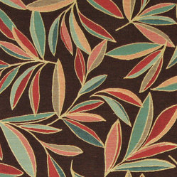 Red, Blue, Green and Brown, Foliage Leaves Contemporary Upholstery Fabric By The - This contemporary upholstery jacquard fabric is great for all indoor uses. This material is uniquely designed and durable. If you want your furniture to be vibrant, this is the perfect fabric!