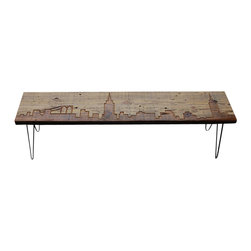 Urban Wood Goods - New York Reclaimed Wood Bench - Urban renewal: This handsome bench is created from a single plank of salvaged and reclaimed wood, with the striking skyline of New York City etched on the surface. It lends a world-class cosmopolitan flair to wherever you call home.