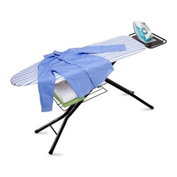 4 Leg Hd Ironing Board With Iron Rest - Honey-Can-Do BRD-01957 Quad-Leg with Iron Rest Ironing Board, Black / Blue Cover. Classic styling and modern conveniences combine in this sturdy quad-leg ironing board. An integrated iron rest is the perfect spot to rest a warm iron and prevent scorching.  The black, powder-coated steel frame offers 7-levels of adjustable height and incorporates a safety lock device for comfortable ironing. A convenient lower sweater shelf is perfect for temporary storage of folded items. A 100% cotton cover in blue and white stripes includes a felt pad for a smooth ironing surface every time.