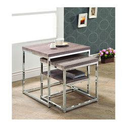 None - Reclaimed Wood Side End Nesting Tables (Set of 2) - This functional set of nesting tables have a beautiful reclaimed wood look set in a chrome frame. The living space accent piece is ideal for use as a phone table, lamp table, decorative display table or book shelf.