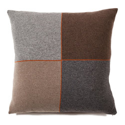 Rani Arabella - Rani Arabella Taupe 4 Checks Cashmere Blend Pillow - Neutral colors and a square block design give the 24-by-24 inch 4 Checks Cashmere Blend Pillow its clean, sleek look. Made from 70% cashmere and 30% wool, this pillow features charcoal, gray, brown and taupe squares outlined in bright orange. Pair it with similar warm colors for a cohesive look. Includes a 50% down and 50% polyester insert. Dry clean only. Made in Italy.