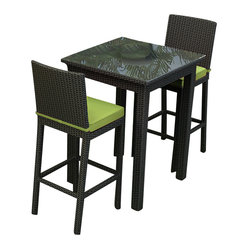 Barbados 3-Piece Outdoor Wicker Bar Set, Kiwi Cushions
