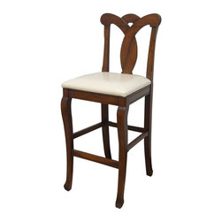 EuroLux Home - New Bar Stool Dark Brown Painted Hardwood - Product Details