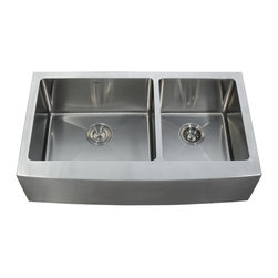 "Kraus - Kraus 36"" Farmhouse Apron 60/40 Double Bowl 16 Gauge Stainless Steel Sink Combo - Add an elegant touch to your kitchen with a unique and versatile farmhouse apron sink from Kraus"