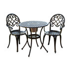 Great Deal Furniture - Palermo Cast Aluminum Bistro Set - Three words: Built-in ice bucket! This bistro set et raises the bar — literally — with it's unexpected addition, ideal for chilling spirits for outdoor entertaining. Its classic scroll and basket-weave detail is given a vintage air with its patinaed black and copper color, a transitional hue with most outdoor furnishings.