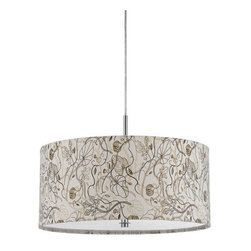 Cal Lighting - Cal Lighting FX-3526/1P Nianda 2 Light Pendant with Custom Patterned Shade - Cal Lighting FX-3526/1P Nianda 2 Light Pendant with Custom Patterned ShadeThis traditionally styled pendant features a custom printed fabric drum shade, making it a wonderful accent to any location in your home.Cal Lighting FX-3526/1P Features: