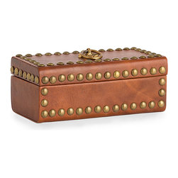 Wyeth Box - Inspired by the renowned literary illustrations of N.C. Wyeth, the Wyeth Box boasts the semblance of a petite treasure chest gently aged by the touch of time. Covered in a rich caramel leather and studded with antique brass nailheads along the top, front, and sides, the box also features a printed paper lining that adds to the heirloom quality of the piece.