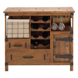"""Benzara - The Amazing Wood Wine Chest - Are you a wine connoisseur? Or are you an amateur in the field and are just beginning to explore its richness and diversity? Well, whatever might be you position you will find this wood wine chest a very helpful piece of creation. With two drawers and a cupboard, a basket made out of metal wire and of course space to store wine bottles and hang glasses, this wood wine chest has it all.Additionally, this wine chest has a certain rustic look because of its build and the texture of the wood used. Perfect also as a gifting item, you may give this wine chest to your son, or someone who is new to the wine field. Indeed, all will be impressed by its looks and utility. This is certainly the product one cannot overlook. So consider getting it. Wood wine chest dimensions:35 inches (W) x 14 inches (D) x 32 inches (H); Wine chest color: Brown; Made from: Wood; Dimensions: 29""""L x 17""""W x 41""""H"""