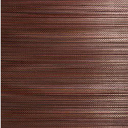Xin Qian Dark Brown Grasscloth Wallpaper - A rich brown grasscloth wallpaper, dressing walls in an exotic weave of espresso bamboo stalks.