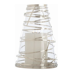 Arteriors - Tory Hurricane Lantern, Polished Nickel - Bring brilliant candlelight ambience to your favorite setting with this unusual lantern. A cone of glass is wrapped in steel ribbons for a fun and festive effect.