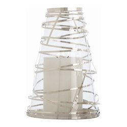 Arteriors - Tory Hurricane, Large - Bring brilliant candlelight ambience to your favorite setting with this unusual lantern. A cone of glass is wrapped in steel ribbons for a fun and festive effect.