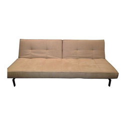 """Pre-owned Innovation Splitback Convertible Sofa Bed - A beautiful splitback convertible faux leather sofa bed in beige with stainless steel legs from Danish design company, Innovation. This is an incredibly comfortable and versatile sofa. All it takes is two easy clicks to recline the split backs making it the equivalent of a full size bed. There are some smudges on the fabric, which could likely be scrubbed or washed out. The seat covers are detachable for easy cleaning.    The sofa is 82"""" across, 15"""" seat height and 31"""" high."""