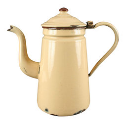 EuroLux Home - Consigned Antique French Creamy Beige Brown Enamel - Product Details
