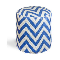 Fab Habitat - Laguna - Regatta Blue & White Pouf - Chic chevrons are showcased in this sophisticated, ecofriendly pouf. This handmade two-toned round ottoman was crafted from recycled materials and will look so mod in your living room or as the stool to your vanity area.