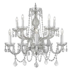 Gallery - Gallery T40-134 10 Light 2 Tier Crystal Candle Style Chandelier - Features: