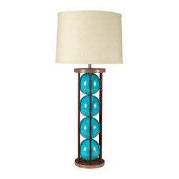 "Stephanie Nichols Studio - Steel 6 table lamp, Turquoise with Copper Rods - The Steel 6 Table Lamp is a mahogany and powder coated steel frame with brilliantly glazed ceramic spheres. The lamp is fitted with a dark bronze 3 way rotary turn knob and harp, all parts UL approved. It is rated a maximum 250w/250v. However we recommend using a 3 way bulb or single 60w (bulb not included). Comes with a hardback linen shade. Shade size: top 14"" x 16"" bottom x 10"" tall."