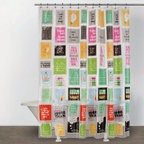 Just Sayin - Just Sayin Think Outside the Box Shower Curtain - 3D111807MU - Shop for Shower Curtains from Hayneedle.com! Brighten your day first thing in the morning with this bold and beautiful Just Sayin Think Outside the Box Shower Curtain. The colors are sure to lift your mood and pop against a clear background while the cheery quotes give you some much needed Monday morning pep and dare you to be different. The 70L x 72W-inch dimensions are a perfect fit for most standard showers. This curtain comes complete with metal grommets for easy hanging and can be cleaned with a damp cloth.About CHF IndustriesCHF Industries based in New York is known for its home textile products and is the largest private-label supplier of retail-specific bedding products. CHF offers a diverse range of window products like panels valances shades kitchen tiers and even window hardware. CHF innovates with fashionable solutions such as energy-efficient interlined window panels taking steps to introduce organic products to protect the environment.