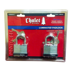 Chateau - Chalet C7645-2-CD-KA Twin Pack 1 3/4 inches Laminated Padlock Sets - Chalet Twin Pack Laminated Steel Padlock is a pick resistant, double locking, laminated padlock. Features a 5 pin brass tumbler cylinder for added security. Four same keys are included for two padlocks.