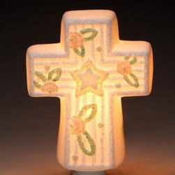 ATD - 4.75 Inch Cross with Center Star and Flower Design Night Light - This gorgeous 4.75 Inch Cross with Center Star and Flower Design Night Light has the finest details and highest quality you will find anywhere! 4.75 Inch Cross with Center Star and Flower Design Night Light is truly remarkable.