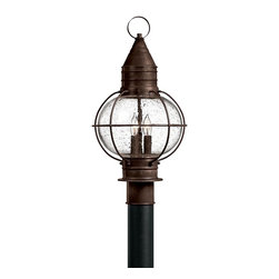 Hinkley Lighting - Hinkley Lighting Cape Cod Transitional Outdoor Post Lantern X-ZS7022 - Maritime flair and early American influencing create this charming Hinkley Lighting outdoor post lantern from the Cape Cod Collection. The hook hints at older gas or oil lamp styling and this post light also features a caged design and beautiful clear seedy glass shade. For added appeal, a Sienna Bronze finish has been used.