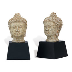 Port 68 - Zen Buddha Bookends, Set of 2 - Bring a touch of tranquility to your home with these Zen Buddha Bookends. With an aged crackle finish and black base, this bookend set is stately and refined without being overpowering. Set these bookends on your desk, bookcase or coffee table to achieve an effortlessly elegant look.