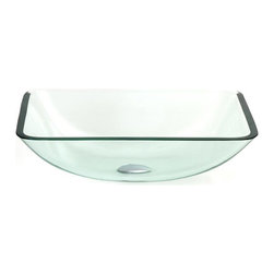 """BathAuthority LLC dba Dreamline - Geometric Square Vessel Sink - Select a natural color glass vessel sink from over thirty unique designs. Each sink is made of tempered 1/2"""" clear glass"""