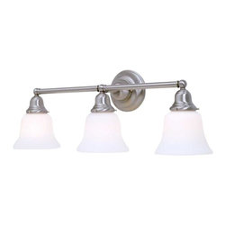 Design Classics Lighting - Three-Light Bathroom Light - 673-09/G9110 KIT - Transitional satin nickel 3-light bathroom light. Traditional styling and a satin nickel finish make this the perfect choice for any vanity. Takes (3) 100-watt incandescent A19 bulb(s). Bulb(s) sold separately. Dry location rated.