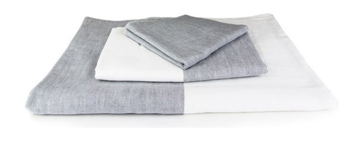 """Morihata - Yoshii Chambray Bath Towel, Gray and White - The secret to the natural softness of Yoshii towels is the use of exceptionally soft twisted ring threads called """"Shankar 6."""" These threads are made from 100% hand-picked raw materials, cultivated with few agricultural chemicals. Seeds are allowed to naturally separate from the cotton to avoid tearing any fibers. Because of the exceptional care taken with materials, every Yoshii towel is fast drying, superior at water absorption and easy on the environment. Yoshii towels are extremely lightweight and pack tightly, making them very travel-friendly. 100% Cotton. Available in Blue/White and Gray/White."""