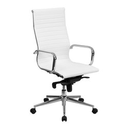 Flash Furniture - Flash Furniture Office Chairs Leather Executive Swivels X-GG-HW-H6289-TB - This elegant office chair will add an upscale appearance to your office. The comfort molded seat has built-in lumbar support and features a locking tilt mechanism for a mid-pivot knee tilt. This chair features dual paddle controls to easily adjust your chair and an integrated bar in the back to keep your jacket within reach. If you're looking for a modern office chair that provides a sleek look, then the Ribbed Upholstered Leather Office Chair by Flash Furniture delivers. [BT-9826H-WH-GG]