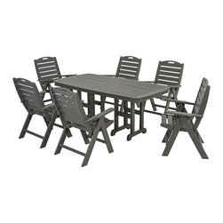 Polywood - Nautical 7-Piece Dining Set in Slate Gray - Whether your outdoor dining area is on land or sea, you're sure to create a unique look with the marine-inspired Nautical 7-Piece Dining Set. This set is constructed of solid recycled lumber that looks like painted wood but doesn't require the maintenance of real wood and requires no painting, staining and waterproofing. Polywood lumber does not splinter, crack, chip, peel or rot and it is resistant to corrosive substances, insects, fungi, salt spray and other environmental stresses and also resists stains associated with wine and condiments.