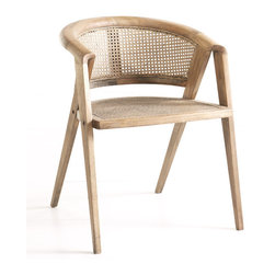 Rattan Club Chair - Just like the sleek lines of mid-century architecture, this oak club chair has a frame that is both minimal and functional. Its austere shape is warmed not only by the grain and rustic tones of natural wood, but also by durable rattan that adds a little extra comfort. The round back provides comfort and support, making this chair ideal for dining or beneath a reading lamp (so you can finally finish that Dickens novel!).