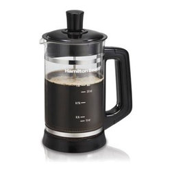 Hamilton Beach - HB French Press Cocoa Attach - This one liter Hamilton Beach French Press lets you easily prepare hot coffee  cocoa or tea anytime without complicated programming  electricity or filters.  It makes great tasting hot coffee  is perfect for steeping tea leaves or bags and  with the cocoa attachment  excellent for frothing hot or cold chocolate drinks.   Glass pitcher features water level marks.  All parts are dishwasher safe.  Black.  This item cannot be shipped to APO/FPO addresses. Please accept our apologies.