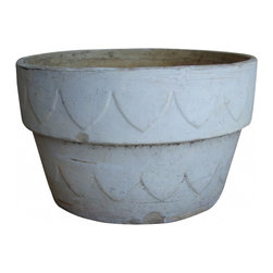Sunbaked Pot - -painted (white) sunbaked terracotta pot