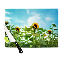 """Kess InHouse - Sylvia Cook """"Sunflower Field"""" Blue Green Cutting Board (11"""" x 7.5"""") - These sturdy tempered glass cutting boards will make everything you chop look like a Dutch painting. Perfect the art of cooking with your KESS InHouse unique art cutting board. Go for patterns or painted, either way this non-skid, dishwasher safe cutting board is perfect for preparing any artistic dinner or serving. Cut, chop, serve or frame, all of these unique cutting boards are gorgeous."""