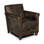 Hooker Furniture - Club Chair - Leather: Old Saddle Fudge/Old Saddle Fudge Crocodile