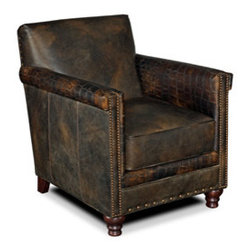 Hooker Furniture - Club Chair - Leather: Old Saddle Fudge/Old Saddle Fudge Crocodile