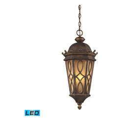 Elk Lighting - Elk Lighting Burlington Junction 3 Light Outdoor Pendant in Hazlenut Bronze & A - 3 Light Outdoor Pendant in Hazlenut Bronze & Amber Scavo Glass belongs to Burlington Junction Collection by Located On The Eastern Shore Of Lake Champlain Between The Adirondack And Green Mountains, Burlington Is Charming And Idyllic. This Series Was Inspired By This Quaint City By The Lake That Prides Itself In The Arts. The Fine Craftsmanship Of This Collection Is Evident In The Cast Aluminum Details And Scrollwork. This Series Is Available With Two Glass Options; A Clear Seeded Glass Or Amber Scavo Glass. - LED, 800 Lumens (2400 Lumens Total) With Full Scale Dimming Range, 60 Watt (180 Watt Total)Equivalent , 120V Replaceable LED Bulb Included Pendant (1)