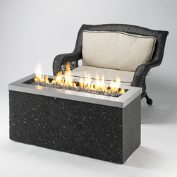 Key Largo Linear Fire Pit - Let the fire dance across the glass ember bed of the Key Largo Linear Fire Pit to create a beautiful effect and ambiance in your outdoor backyard or patio area. -Mantels Direct