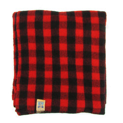 Consigned Kenwood Red & Black Buffalo Plaid Wool Blanket - Soft 1950s wool blanket in Red and Black Buffalo Plaid. Tagged by Kenwood.