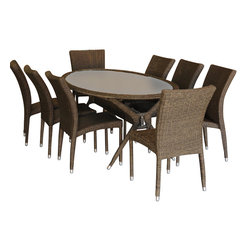 International Home Miami - Atlantic Bari 9-Piece Patio Dining Set - Great quality, stylish design patio sets, made entirely of high quality resin. No metal parts. I won't rust. Polyester cushion with water repellant treatment. Enjoy your patio with elegance all year round with the wonderful Atlantic outdoor collection.